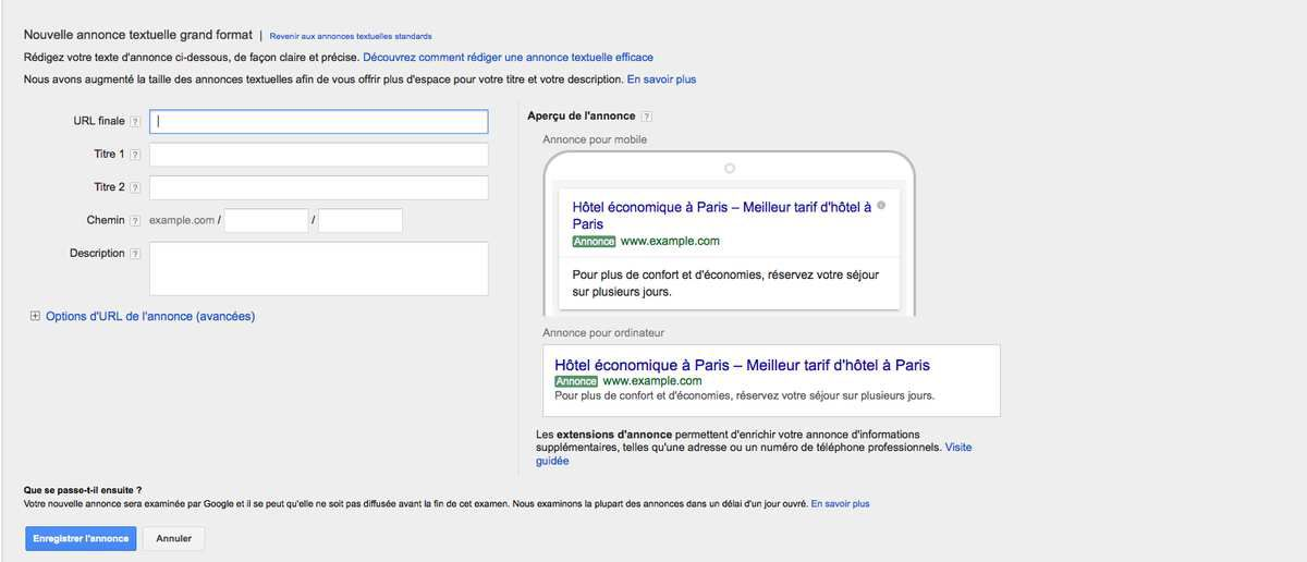 Nouvelle interface de rédaction d'annonces Google Adwords