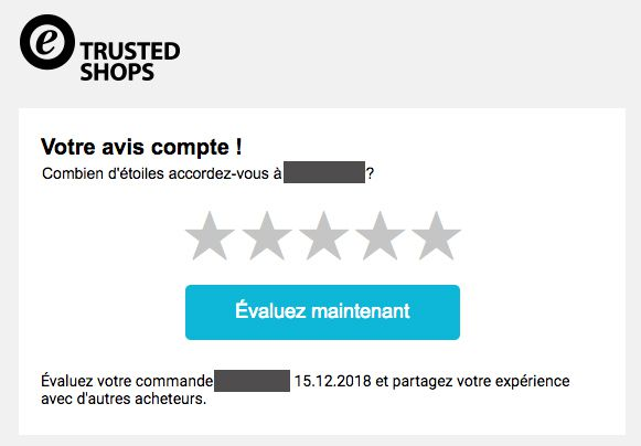 Mail reçu de la part de Trusted Shops