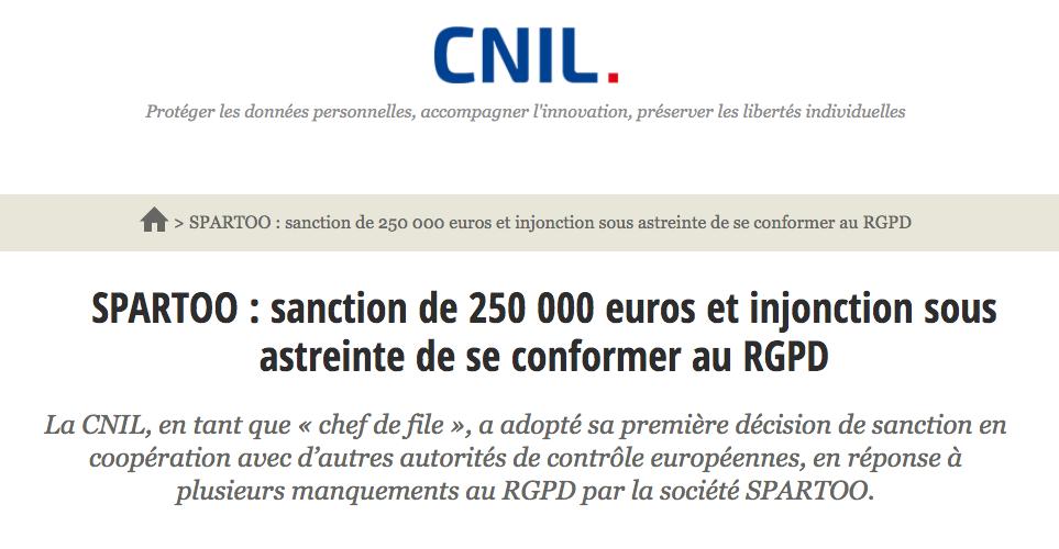 Illustration 1 [ECOMMERCE et RGPD] Spartoo condamné à 250 000€ d'amende par la CNIL avec astreinte journalière