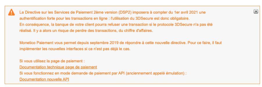 Message d'avertissement au sujet de la DSP2